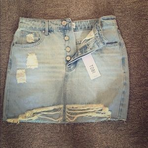 Distressed Denim Skirt from Tobi